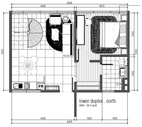 Type C - Duplex Lower Floor Layout