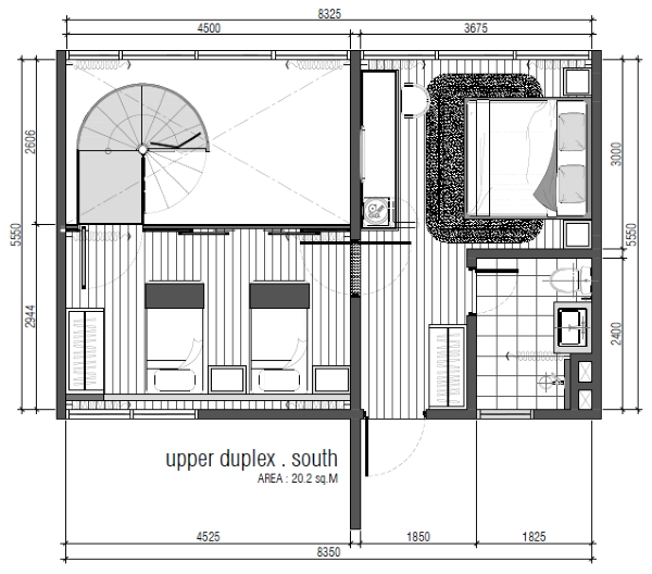Type C - Duplex Upper Floor Layout