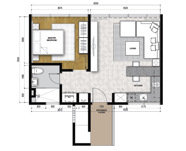 Type C1 - Studio 1 Room (592 sqft)