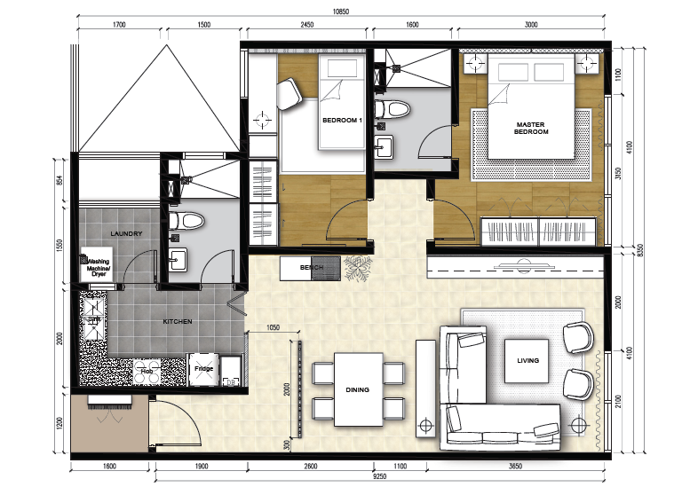 Type B - 2 Rooms Apartment (915 sqft)
