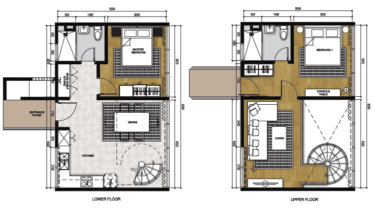 Type C (Living) - Duplex (1,033 sqft)