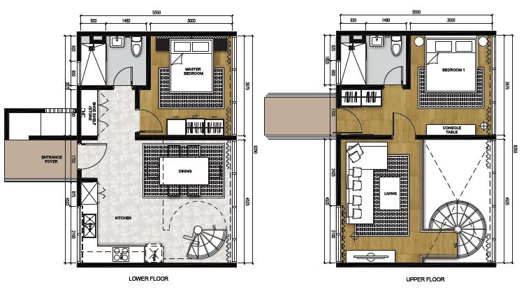 Type C (Living) - Duplex (1,033 sqft)