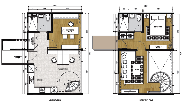 Type C (Work) - Duplex (1,033 sqft)