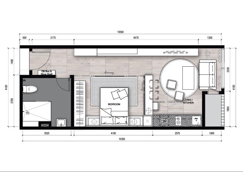Type D - Studio (474 sqft)