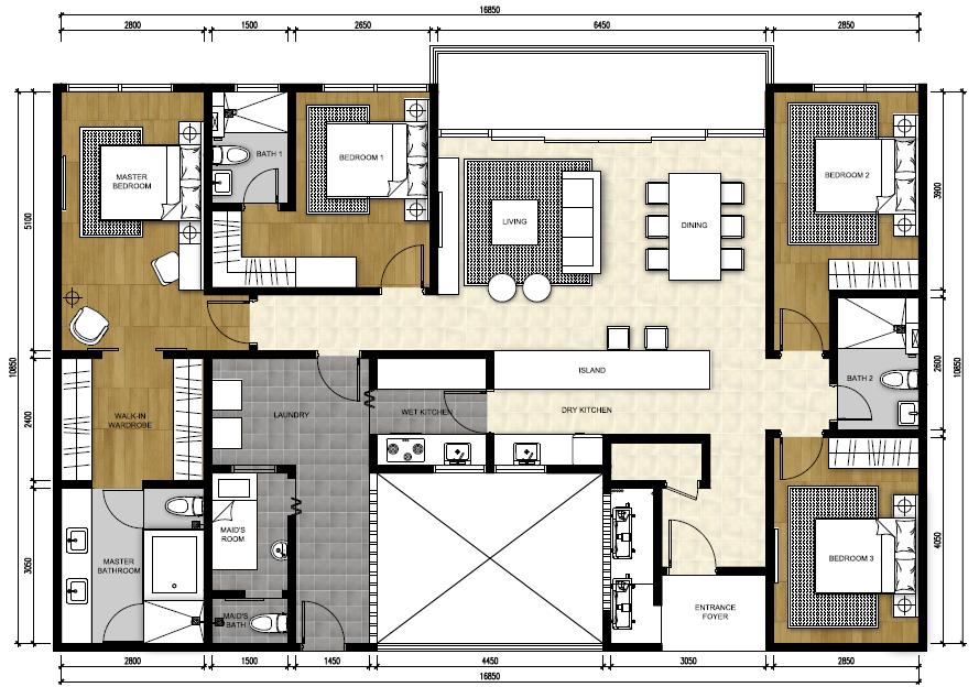 Type P1 - Penthouse Suite (1,894 sqft)